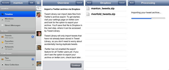 Tweet Library import flow