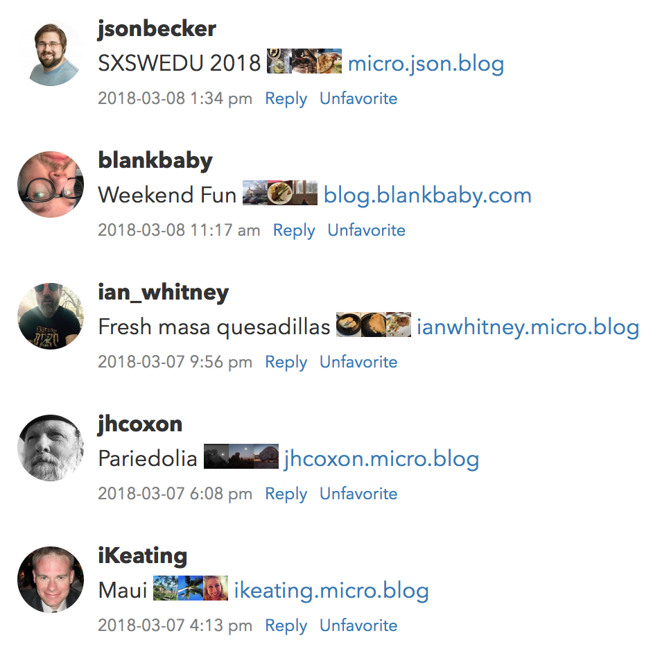 Micro.blog timeline screenshot