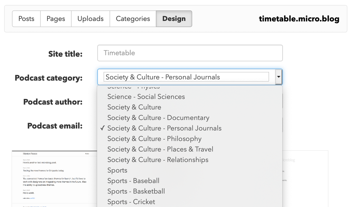 Categories screenshot