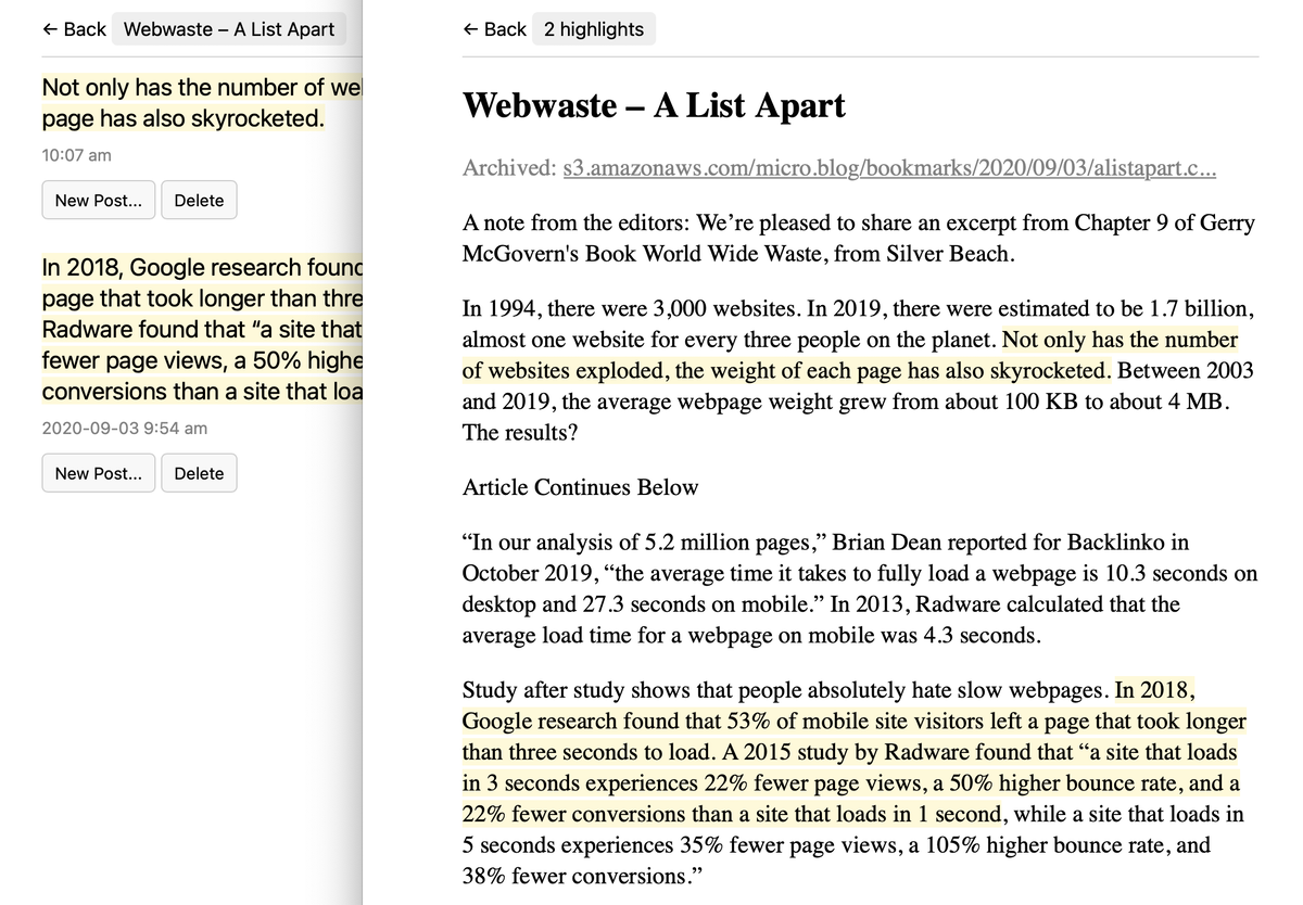 Screenshot of web version with highlights